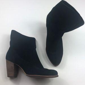 UGG suede black heel fold over booties 8
